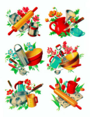 Vintage Image Retro Kitchen Utensils Bakeware Cooking Waterslide Decals KI309