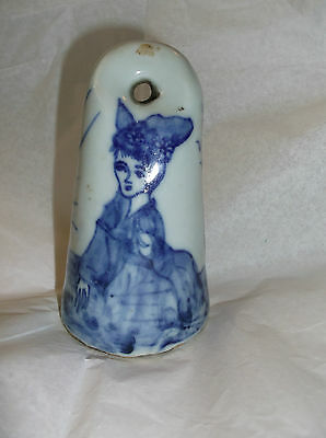"Antique BLUE AND WHITE female PORCELAIN SEAL. 4""x2"" signed"