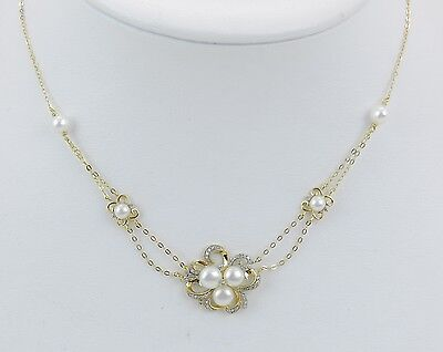 14K Yellow Gold Pearl and Diamond Necklace Wedding Pendant Gift with Chain 18""
