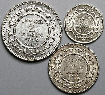1891 1912 1916 TUNISIA Silver 50 Centimes 1  Franc 2 Francs Type Set (17051001R)
