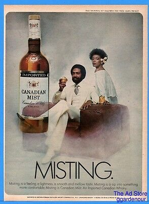 1976 Canadian Mist Whiskey MISTING White Suit Fashion African American Black Ad