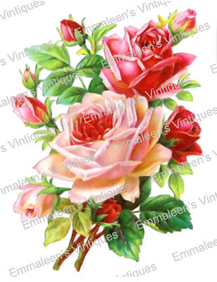 Vintage Image Shabby Pink Rose Flower Floral Bouquet Waterslide Decals FL486