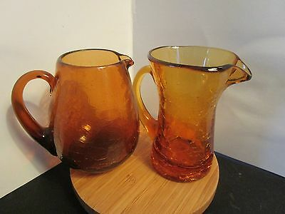 "2 VINTAGE BLOWN AMBER CRACKLE GLASS APPLIED HANDLE PITCHERS Handcrafted 3.5""Tall"