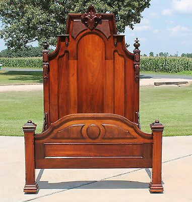 Impressive Victorian Walnut & Burl Ornate High Back Full Size Bed c1865