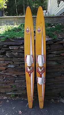 """ANTIQUE Set of Wooden 68"""" Long Waterskis  Water Skis MARK 200 COMBINATION"""