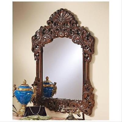 """18th Century French Antique Replica Hardwood Hand Carved Wall Mirror 42"""""""