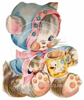 Vintage Image Shabby Retro Nursery Little Baby Kitten Waterslide Decals BAB607