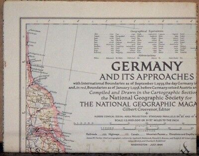1944 National Geographic Map of Germany and Its Approaches World War II Vintage