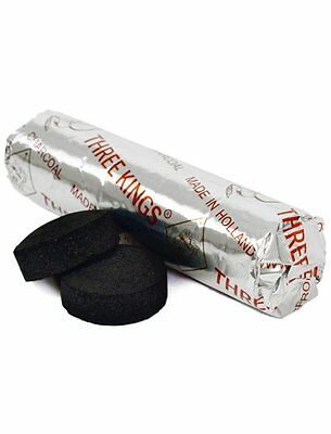 3 KINGS CHARCOAL TABLETS - 1 x ROLL OF 10 CHARCOAL DISCS Wicca Pagan Witch Goth