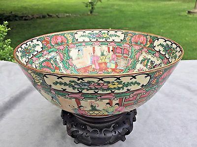 Antique Chinese Canton Export Rose Medallion Punch Bowl