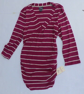 Motherhood Maternity small shirt purple striped v-neck ruched 3/4 sleeve new
