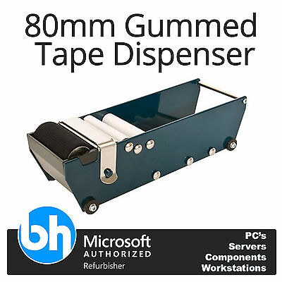 80mm Gummed Tape Dispenser Water Activated Desktop + 60 rolls of Gummed Tape