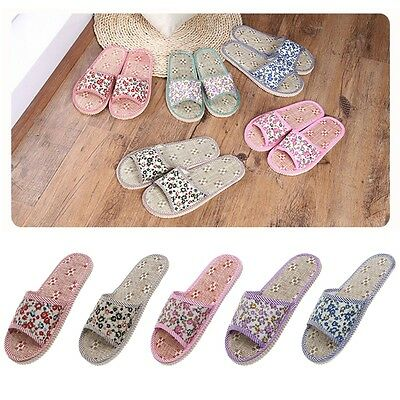 Women/Men Linen Floral Home Indoor Slipper Open Toe Flax House Flat Slippers