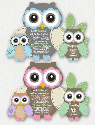 Owl Baby Shower Invitations Birthday Invitation Boy Girl Owls Invite CUSTOM