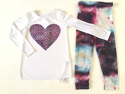 BNWT Girls Long Sleeve Heart Top & Cosmos Leggings Set Ages 3 4 5 6 7 (L5)