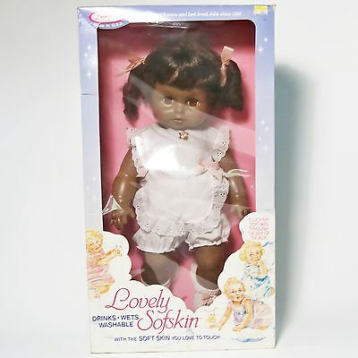 Vtg Horsman Lovely Sofskin Black African American Doll, Drinks & Wets - New NIB