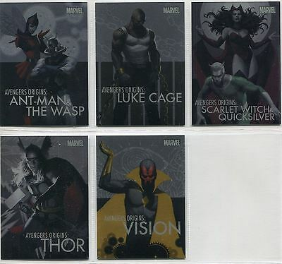 Marvel Universe 2014 Complete Avengers Origins Chase Card Set AO1-5
