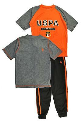 US Polo Assn Boys Orange & Gray Top 3pc Sweat Pant Set Size 2T 4 5/6 7 $54