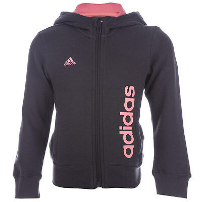 Infant Girls adidas Essential Linear Zip Hoody Black-Zip Fastening-Ribbed Cuffs