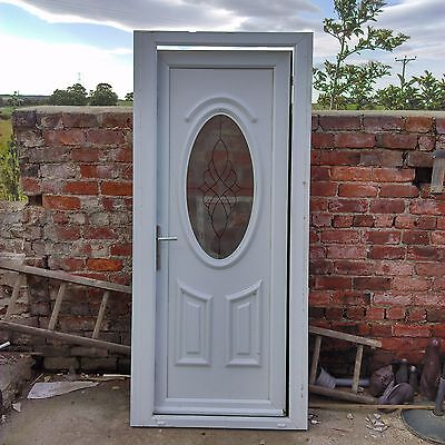 White upvc back door and frame oval frosted window leading for Back door frame