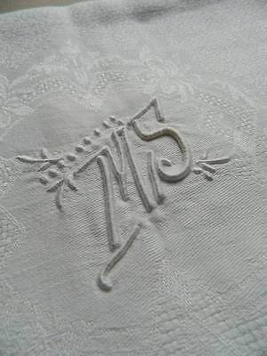 "Antique UNUSED French linen damask tablecloth -  monogram ""M.S""  - 80"" x 62"""