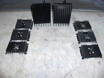 8 BLACK HEATSINKS--6 with 2N1553 TRANSISTORS--UNTESTED -2 with NO COMPONENTS