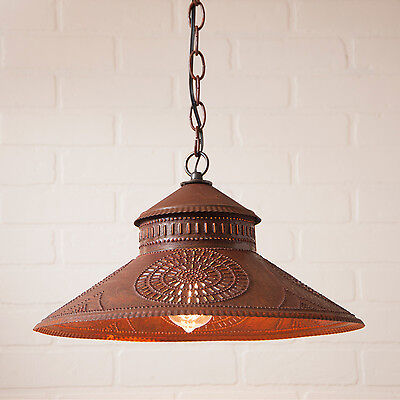 Shopkeeper Shade Light Pendant with Chisel in Brownic Punched Tin