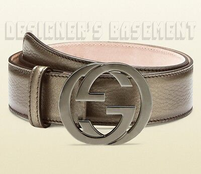 GUCCI pewter 40-100 leather Gun-metal INTERLOCKING G buckle belt NWT Authentic!