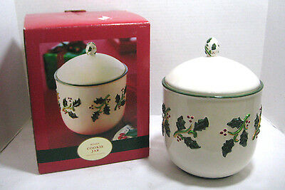 Earthenware Collection Holly Cookie Jar Christmas Decor Holiday Kitchen