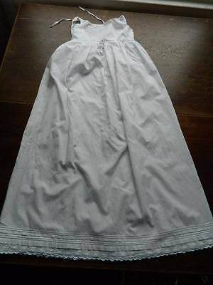 Antique Victorian long Christening petticoat for baby / doll - Swiss lace trim