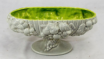 Royal Haeger #R-421 Large Compote Bowl Paneled Grape Clusters White/Green