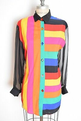 vintage early 90s shirt colorful stripe print rhinestone button up blouse top