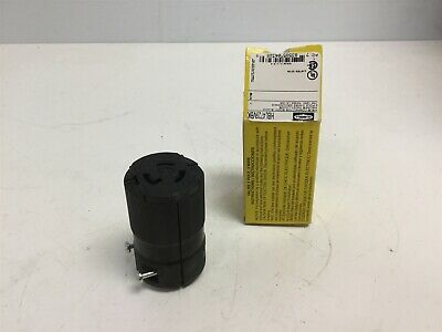 New Hubbell HBL4729VBK Connector Twist-Lock, 15A, 125V, 2 Pole 3 Wire L5-15R