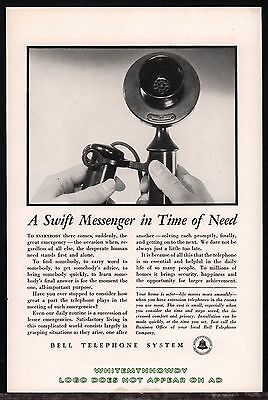 1934 CANDLESTICK PHONE Bell Telephone Antique PRINT AD Advertising Page