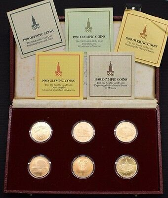 1980 USSR Moscow Russia Olympic 100 Rouble Gold Coin Set Six (6) Coins with Box