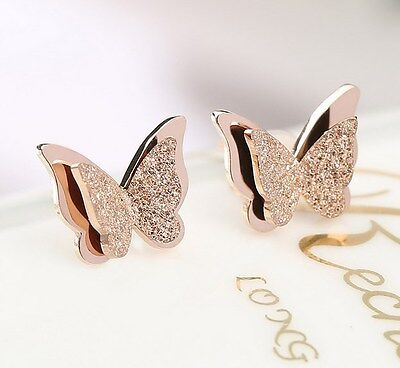 Rose Gold Titanium Stainless Steel Square Heart Cut Stud Earrings 6mm Gift PE9