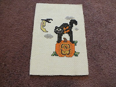 Collectible Needlepoint Sampler Halloween Complete & Ready to Frame Backed 5x7""