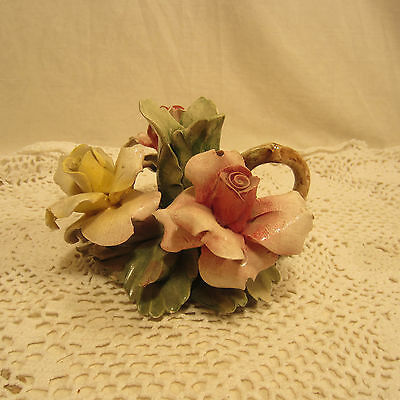 Vintage Taper Candle Holder Nuova Capodimonte Italy Floral Rose Pink Yellow