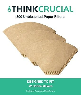 300 Replacements Unbleached Natural Brown Paper #2 Coffee Filters