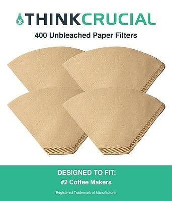 400 Replacements Unbleached Natural Brown Paper #2 Coffee Filters
