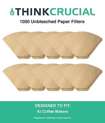 1000 Replacement Unbleached Natural Brown Paper #2 Coffee Filters