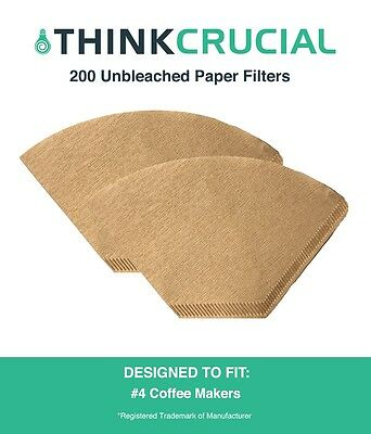 200 Replacements Unbleached Natural Brown Paper #4 Coffee Filters
