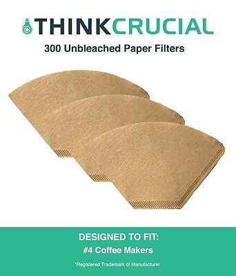 300 Replacements Unbleached Natural Brown Paper #4 Coffee Filters