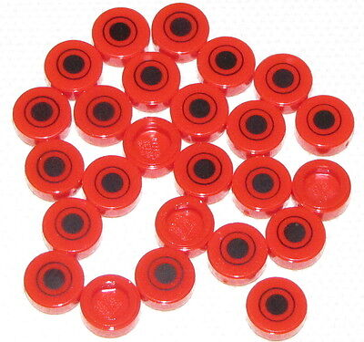 Lego Lot of 25 New Red Tiles Round 1 x 1 with Black Dot and Circle Pattern Parts
