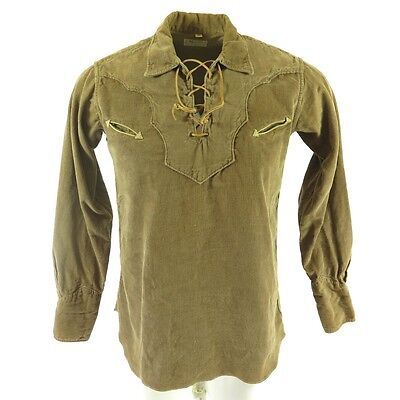 Vintage 60s Western Shirt Mens M Corduroy Brown H BAR C Ranchwear Leather Laces