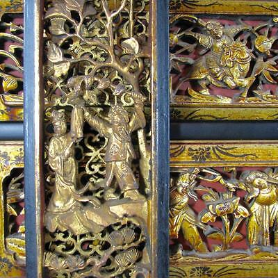 Three Finely Carved 19th c. Chinese Gilt Wood Plaques with Dancers, Immortals