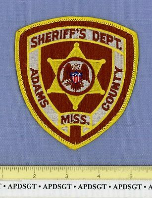 ADAMS COUNTY SHERIFF'S DEPT MISSISSIPPI MS Sheriff Police Patch STATE SEAL