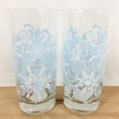 NOS Vtg 2 Libbey SNOWFLAKE SWIRL 16 oz Ice Tea Tumbler Cooler Glasses Christmas