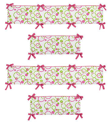 Bright Pink Green Polka Dot Boutique Baby Room Girls 4 Piece Crib Bumper Pad