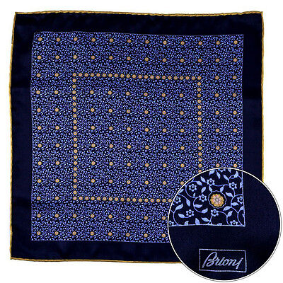 Men's BRIONI Navy Blue Floral Silk Hand Made Rolled Pocket Square Handkerchief